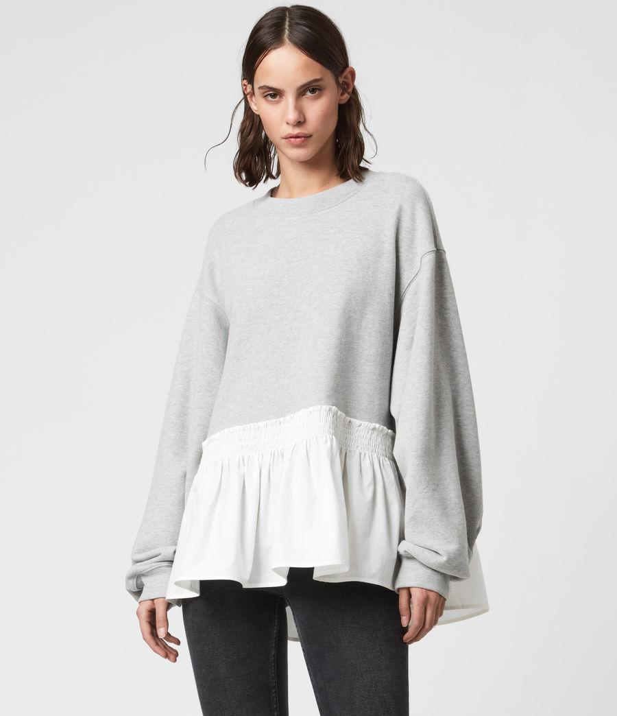 Femmes Sweat Contrastant en Coton Pur Nio (grey_marl_chalk) - Image 1