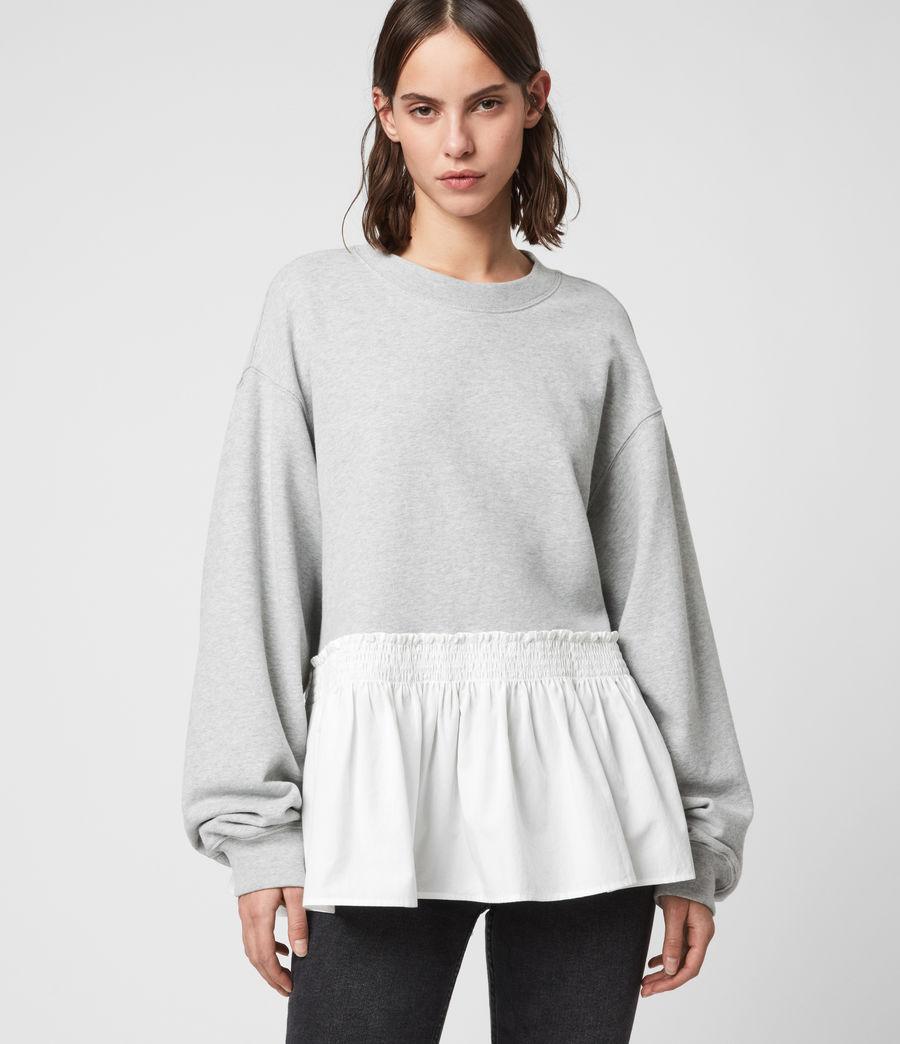 Femmes Sweat Contrastant en Coton Pur Nio (grey_marl_chalk) - Image 4