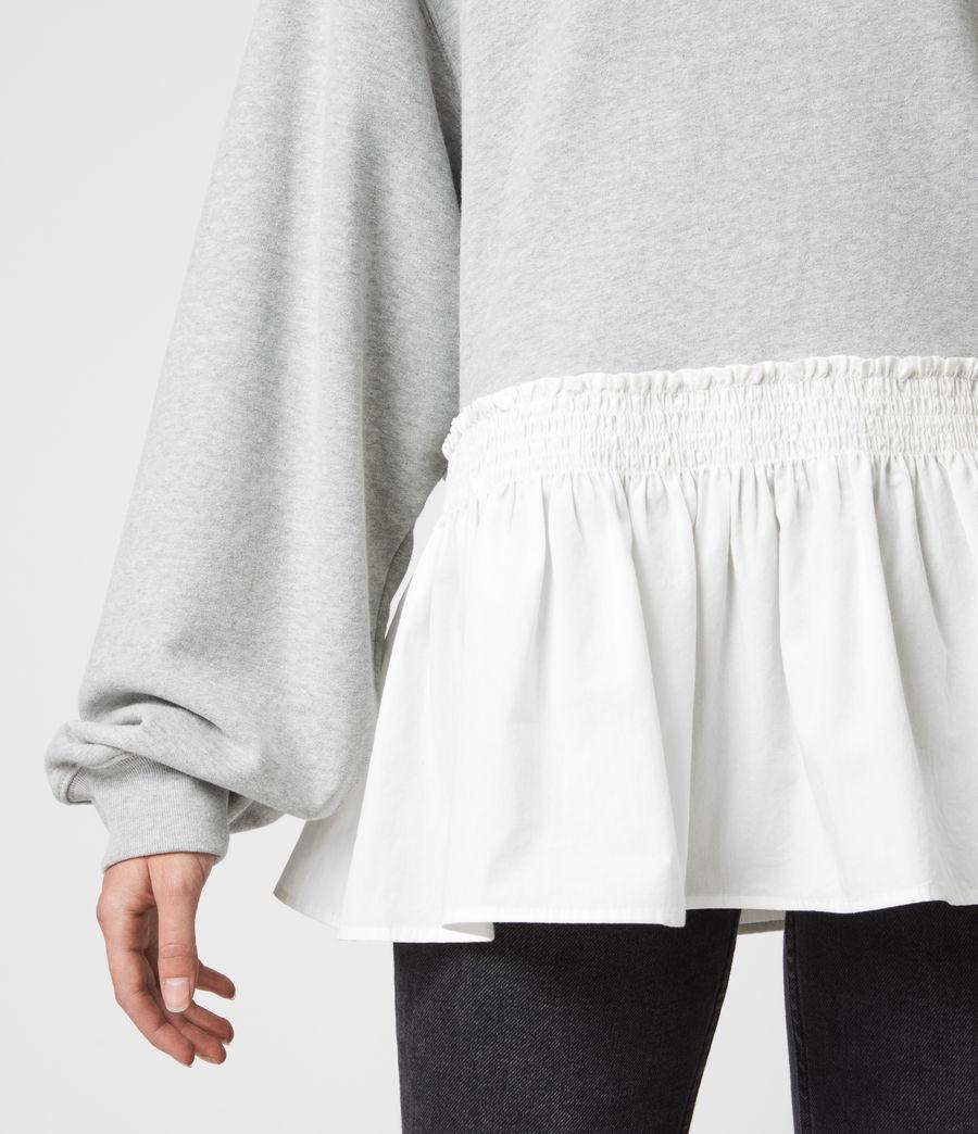 Femmes Sweat Contrastant en Coton Pur Nio (grey_marl_chalk) - Image 5