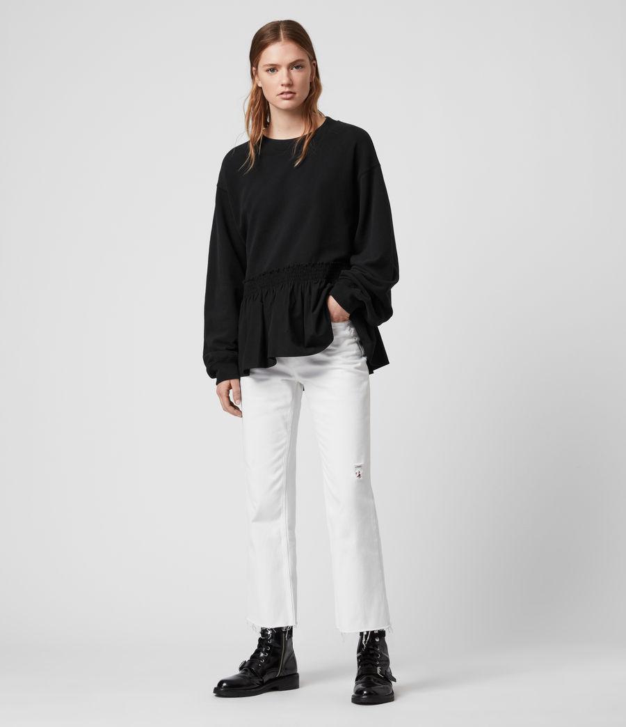 Donne Felpa Nio - In cotone con orlo arricciato (black_black) - Image 2