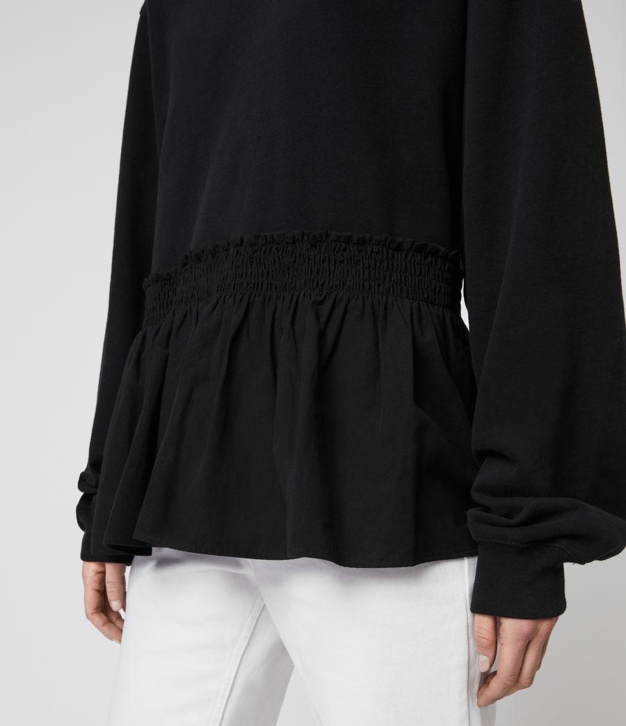 Donne Felpa Nio - In cotone con orlo arricciato (black_black) - Image 3