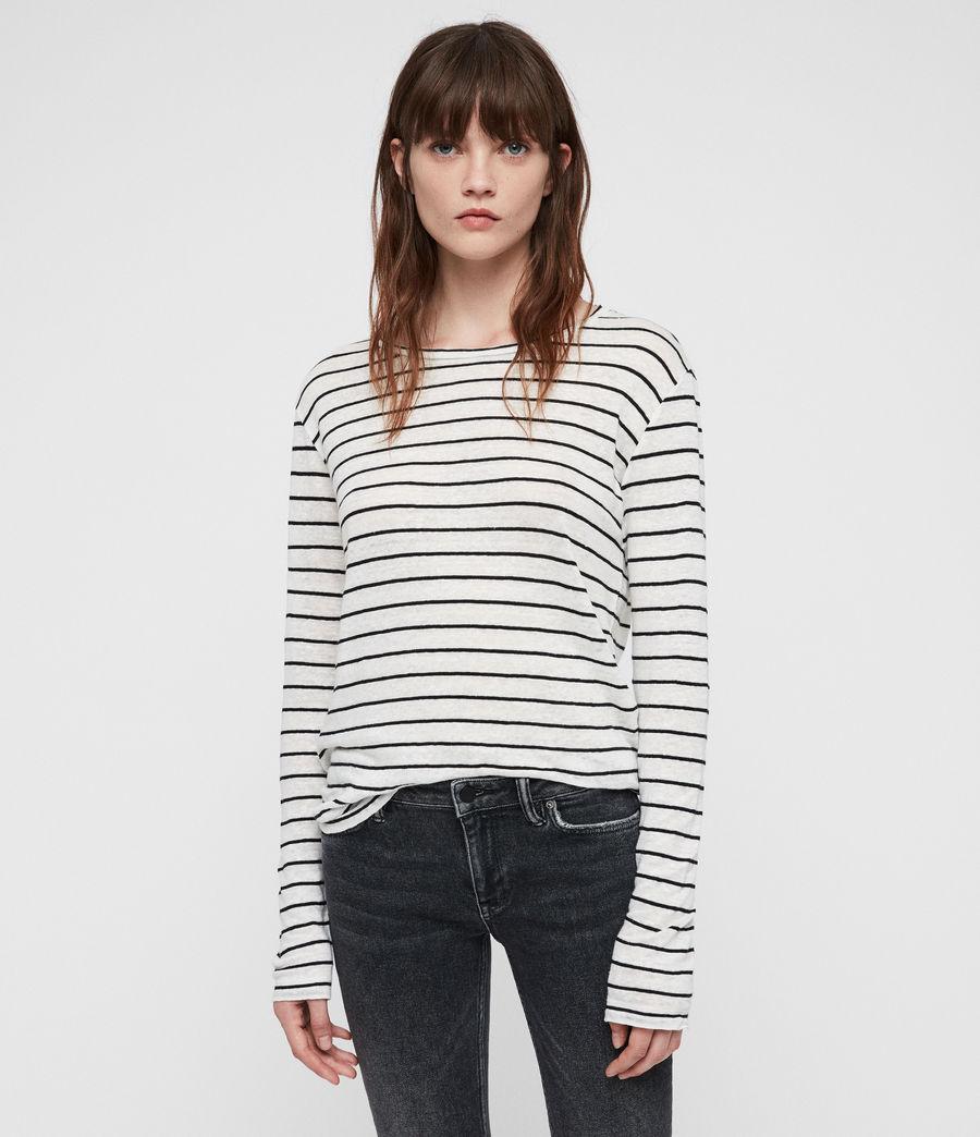 Womens Esme Breton Stripe Tee (chalk_white_black) - Image 1