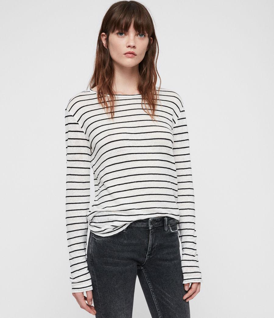Womens Esme Breton Stripe Tee (chalk_white_black) - Image 4