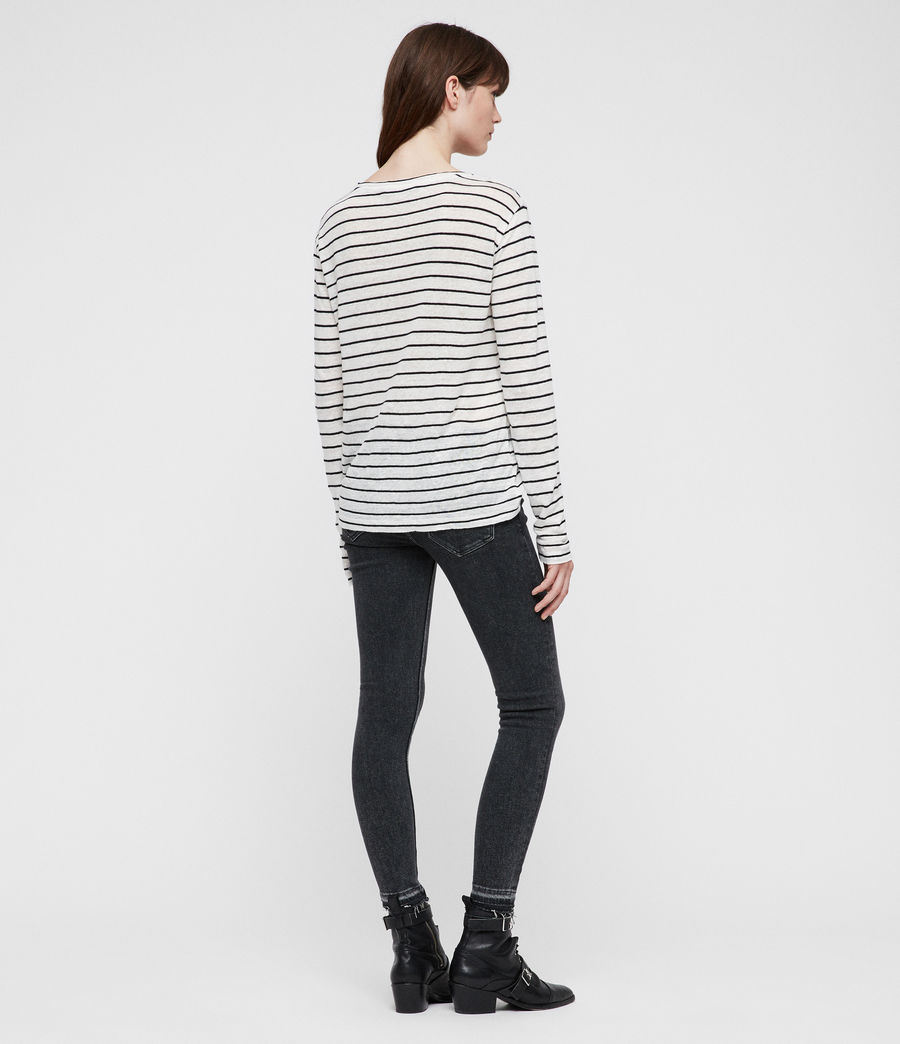 Womens Esme Breton Stripe Tee (chalk_white_black) - Image 5