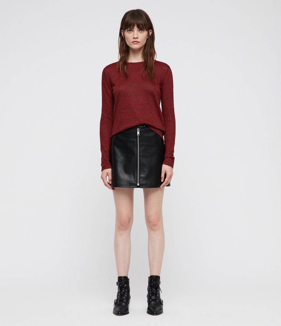 Women's Esme Linen Stripe T-Shirt (red_black) - Image 1