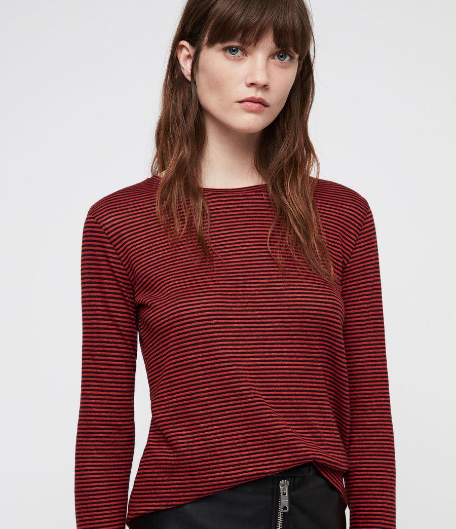Women's Esme Linen Stripe T-Shirt (red_black) - Image 2
