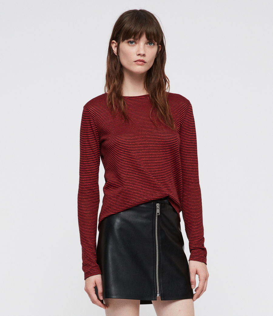 Women's Esme Linen Stripe T-Shirt (red_black) - Image 3