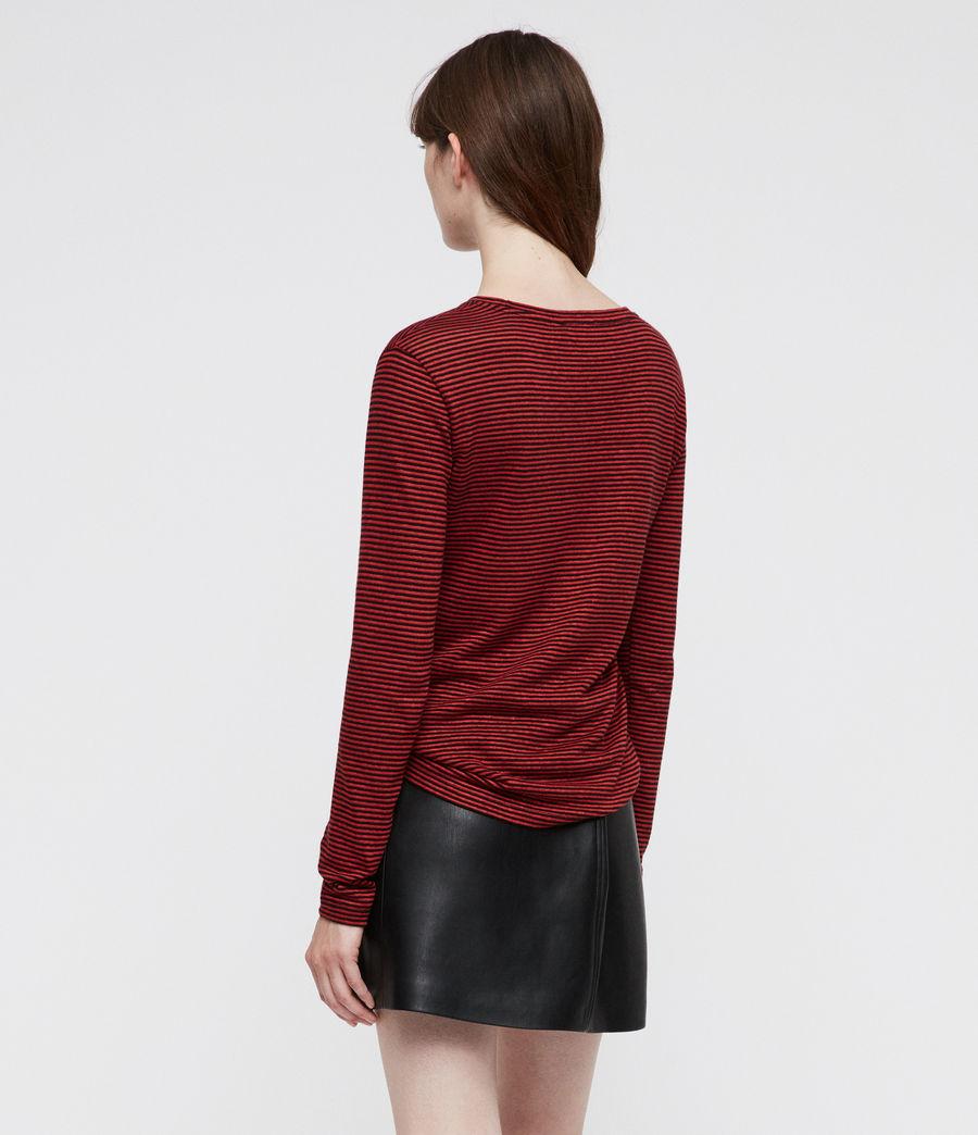 Damen Esme Gestreiftes Langarmshirt (red_black) - Image 4