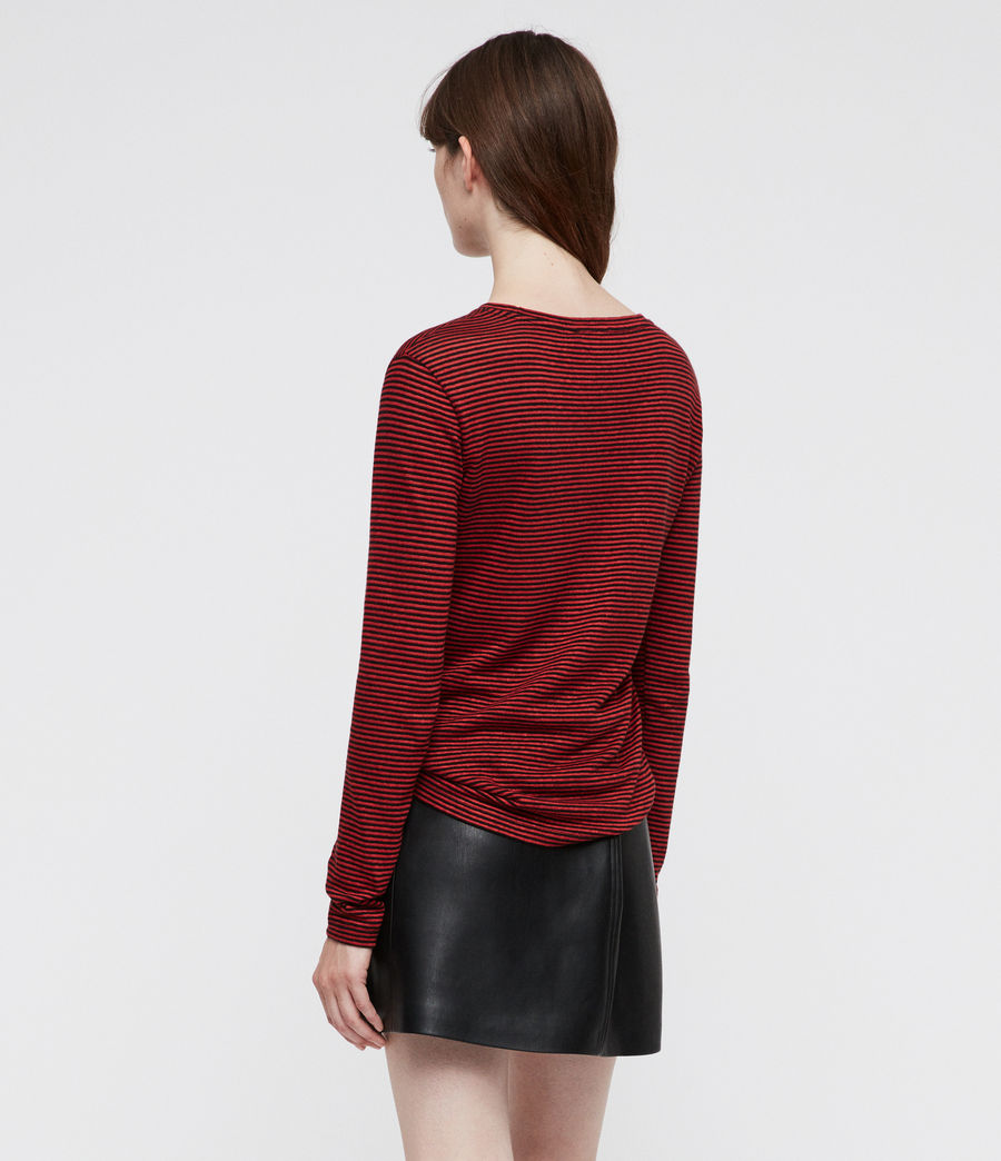 Women's Esme Linen Stripe T-Shirt (red_black) - Image 4