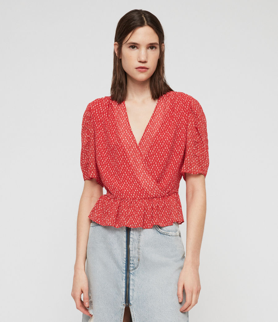 Womens Ilia Hearts Top (red) - Image 3