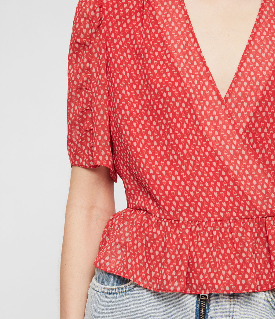 Womens Ilia Hearts Top (red) - Image 4