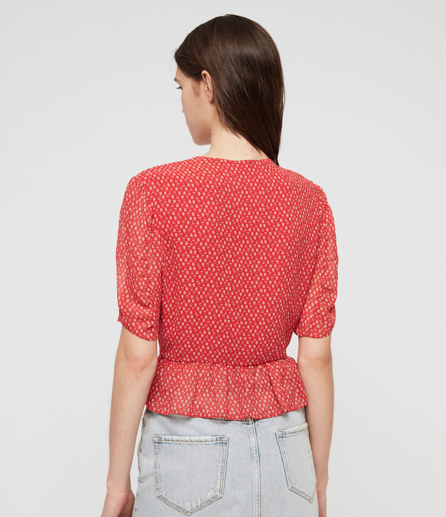 Womens Ilia Hearts Top (red) - Image 5