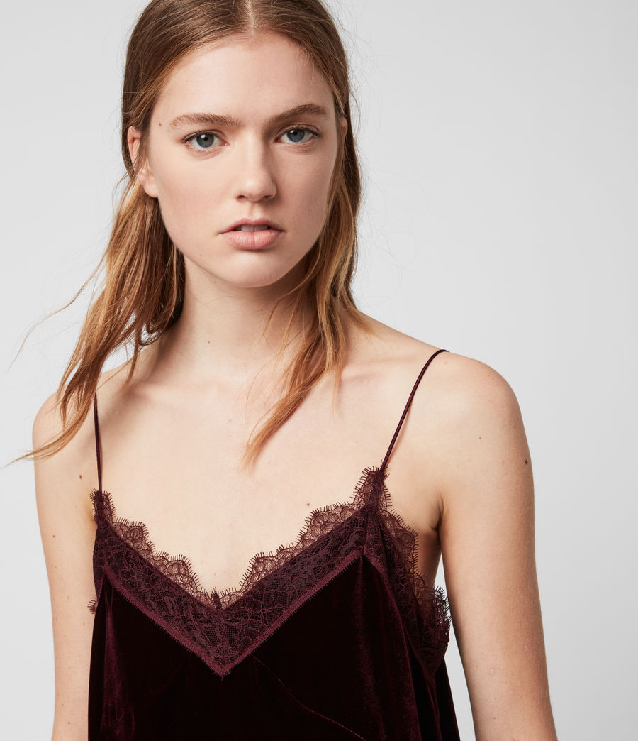 Womens Noa Velvet Top (oxblood_red) - Image 2
