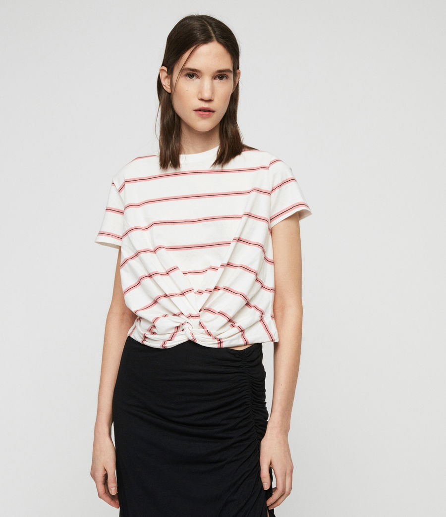 Women's Carme Stripe T-Shirt (pink_chalk_white) - Image 1