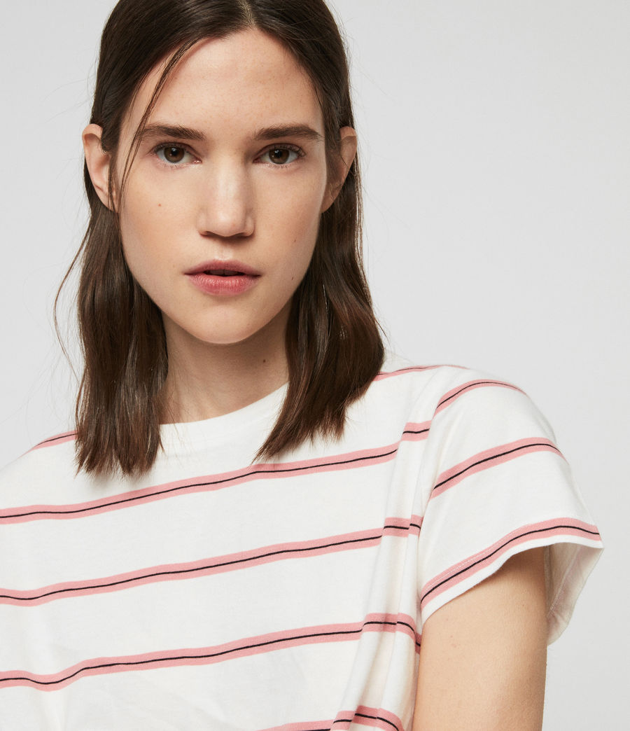 Women's Carme Stripe T-Shirt (pink_chalk_white) - Image 2
