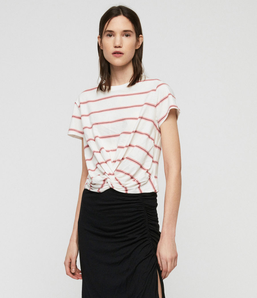 Women's Carme Stripe T-Shirt (pink_chalk_white) - Image 3