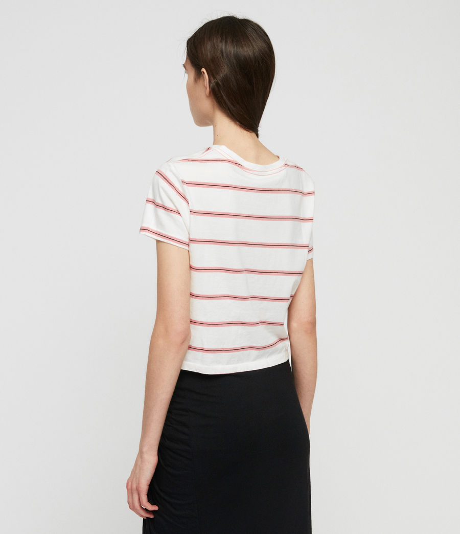 Women's Carme Stripe T-Shirt (pink_chalk_white) - Image 4