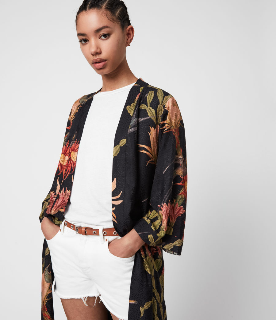 Women's Carine Nolina Silk Blend Kimono (black) - Image 6