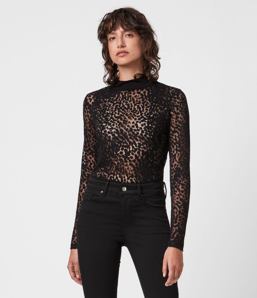 Womens Bela Leopard Bodysuit (black) - Image 1