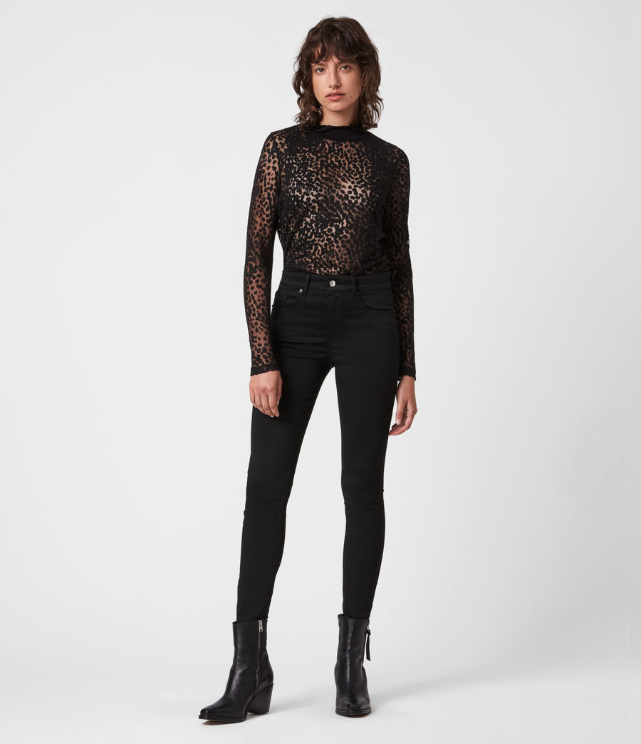 Womens Bela Leopard Bodysuit (black) - Image 4