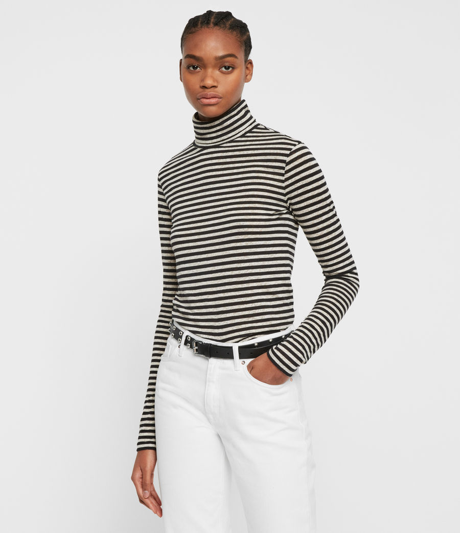 Womens Lake Stripe Rollneck Top (chalk_ink_blue) - Image 1