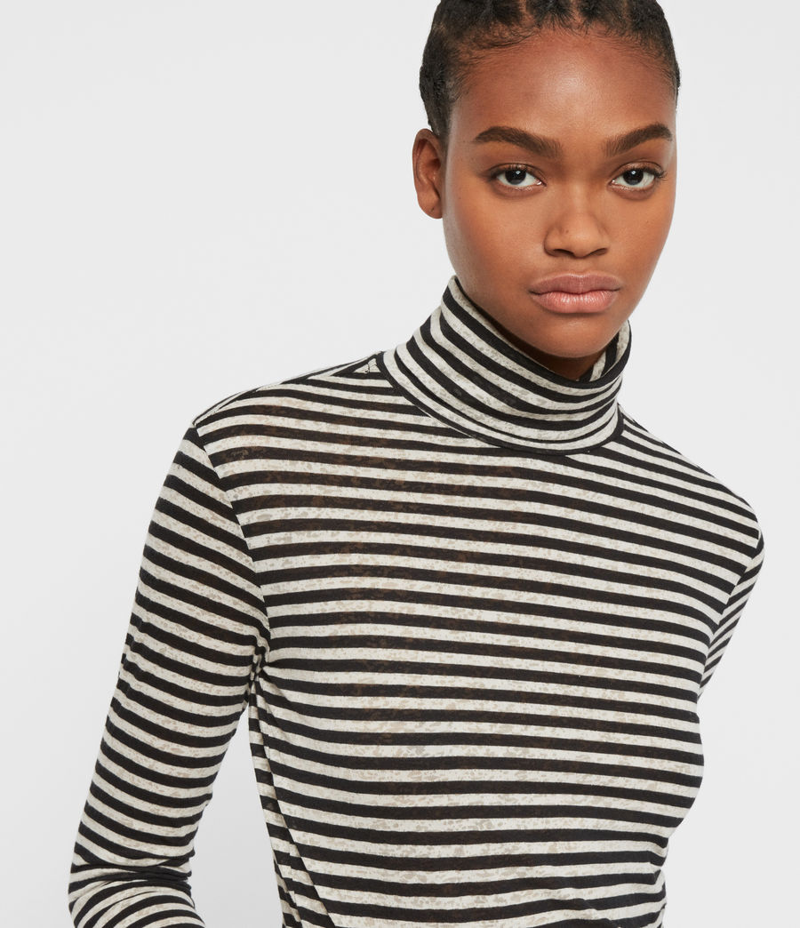 Womens Lake Stripe Rollneck Top (chalk_ink_blue) - Image 2