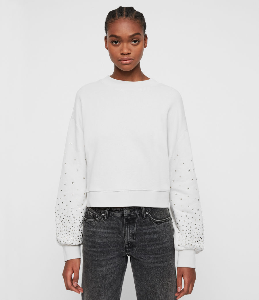 Women's Star Stud Cropped Sweatshirt (ivory_white) - Image 1