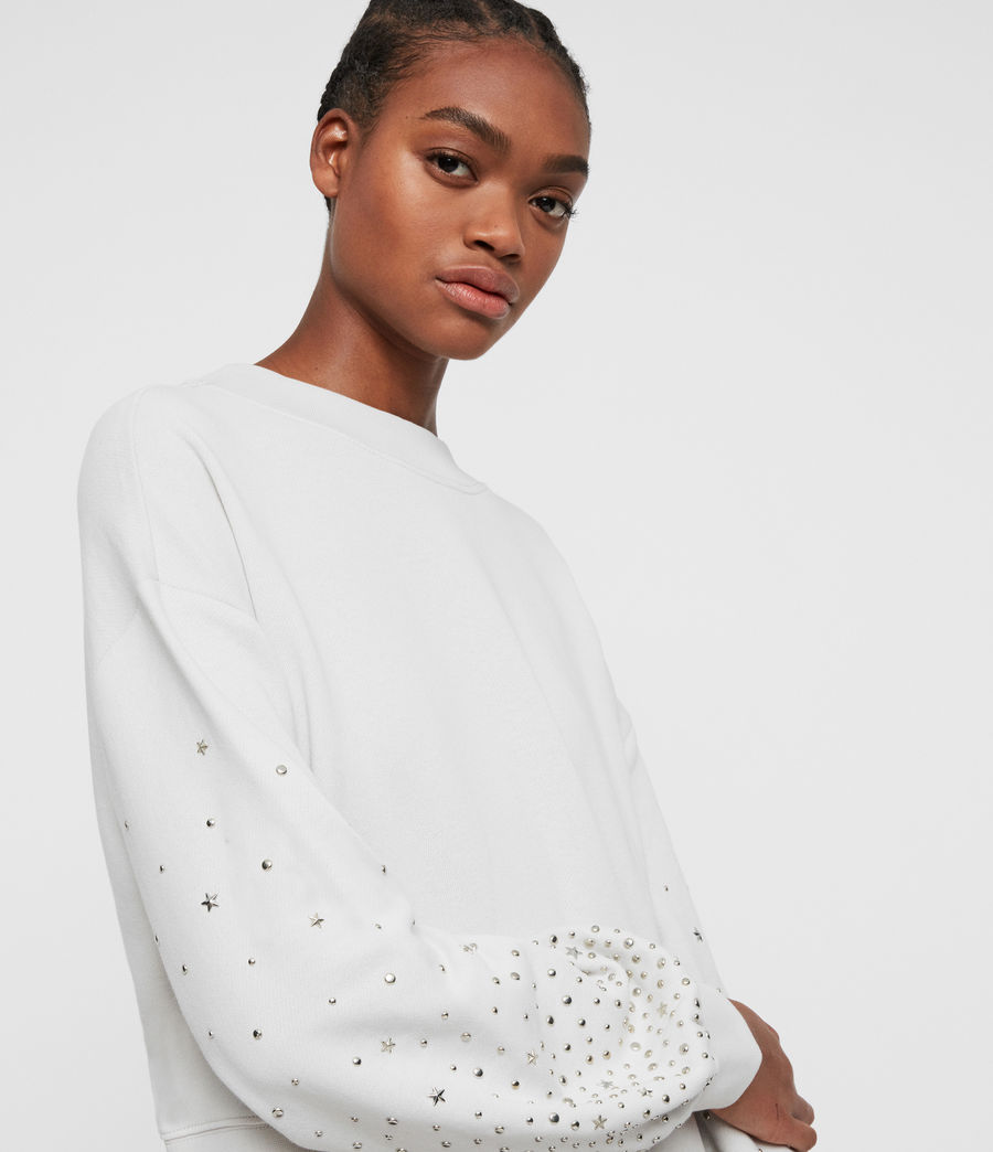 Women's Star Stud Cropped Sweatshirt (ivory_white) - Image 2