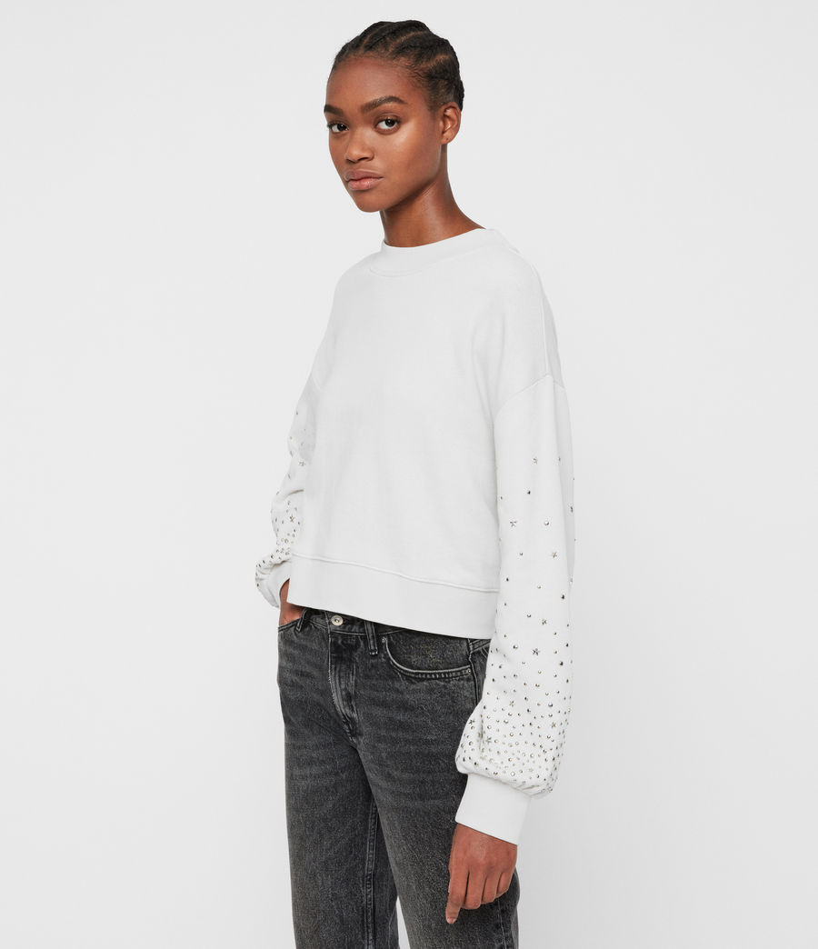 Women's Star Stud Cropped Sweatshirt (ivory_white) - Image 4