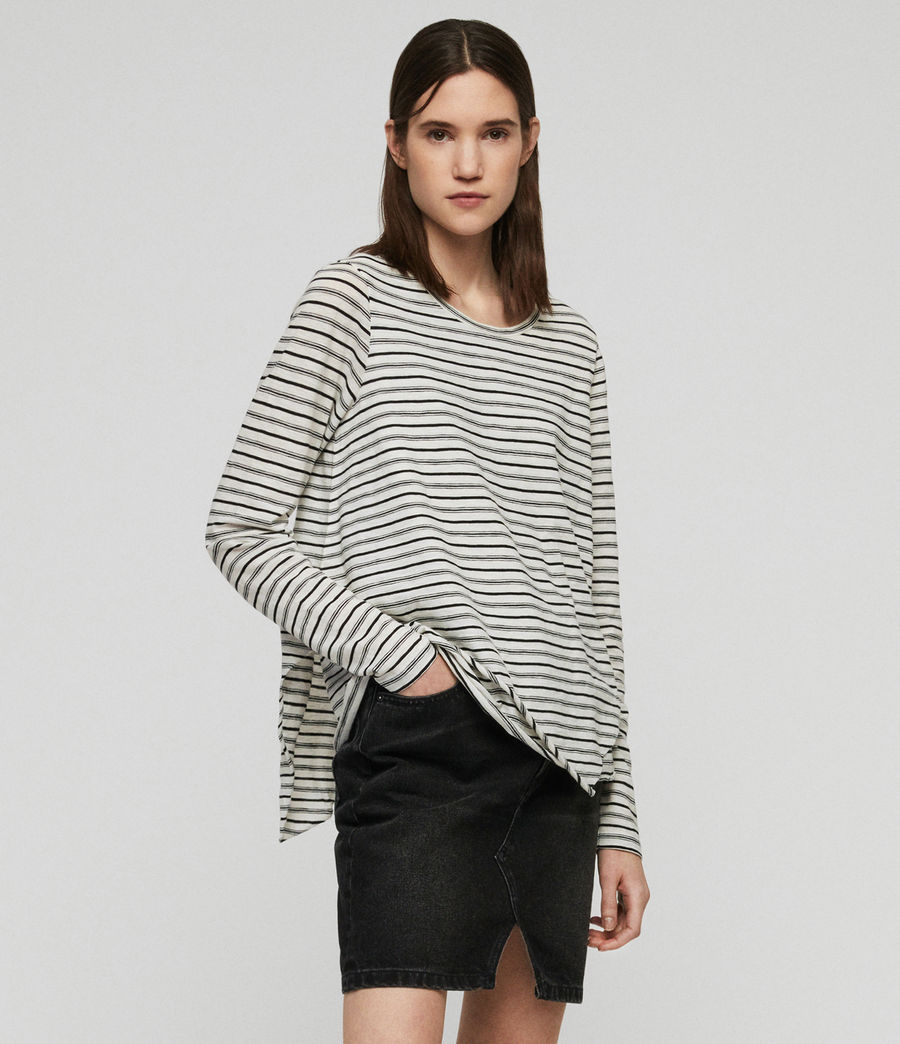 Women's Daisy Stripe T-Shirt (ecru_black) - Image 1