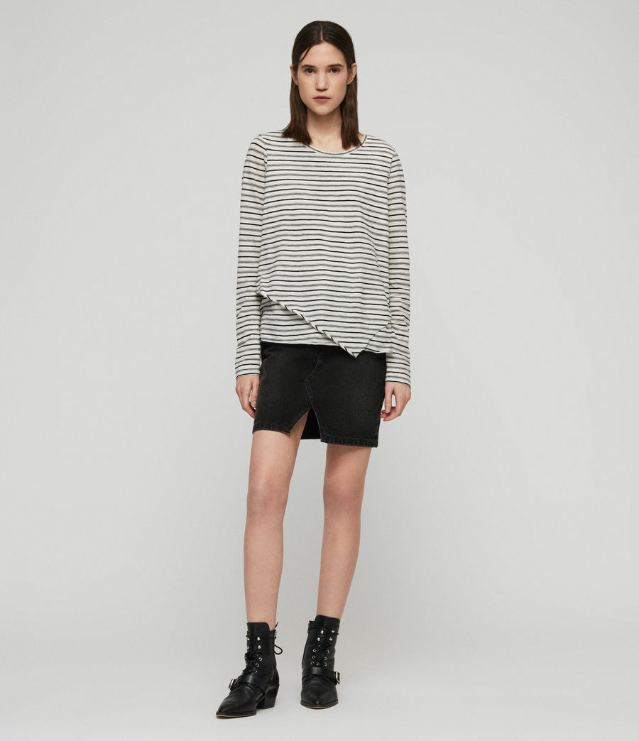 Women's Daisy Stripe T-Shirt (ecru_black) - Image 2