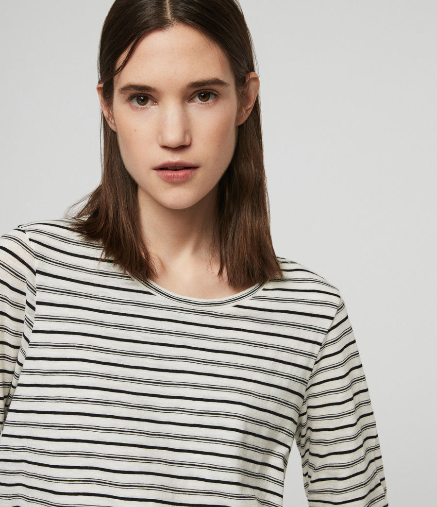 Women's Daisy Stripe T-Shirt (ecru_black) - Image 3