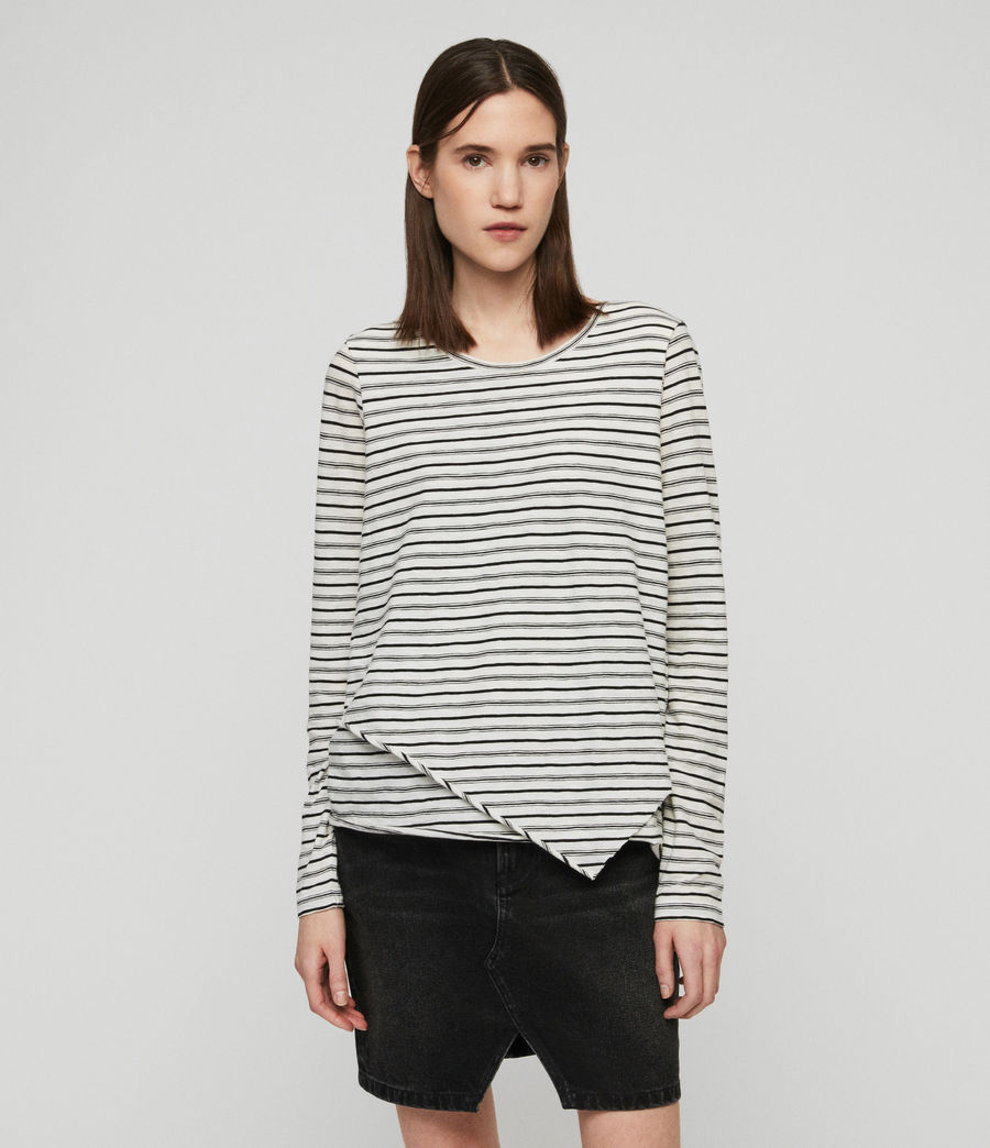 Women's Daisy Stripe T-Shirt (ecru_black) - Image 6