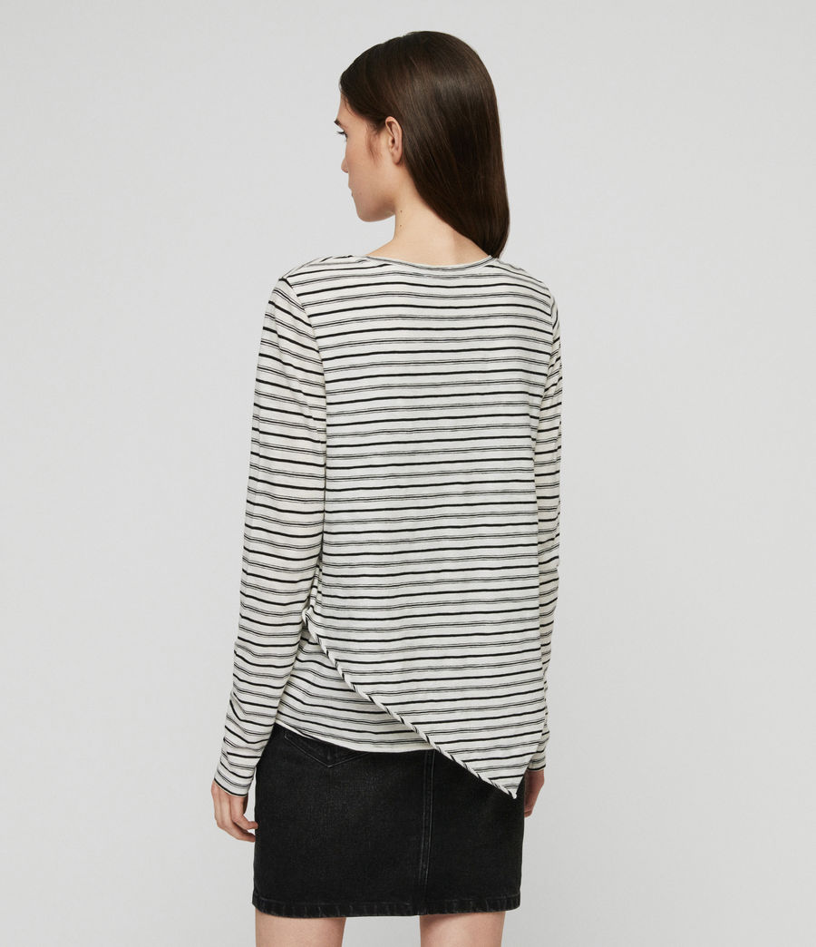 Women's Daisy Stripe T-Shirt (ecru_black) - Image 7