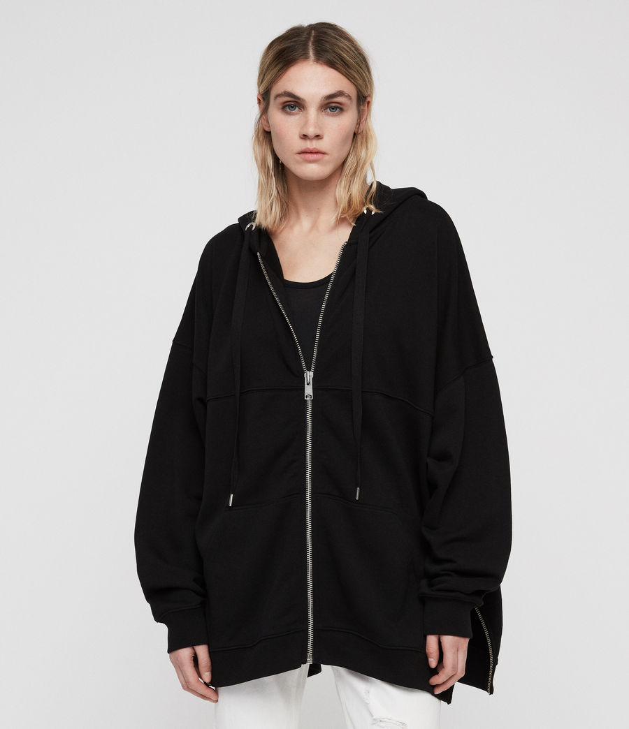 Womens Bella Long Hoodie (black) - Image 1