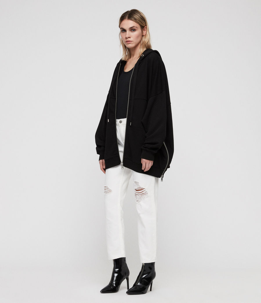 Women's Bella Long Hoodie (black) - Image 3
