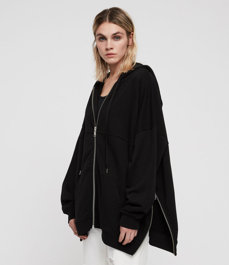 Womens Bella Long Hoodie (black) - Image 4