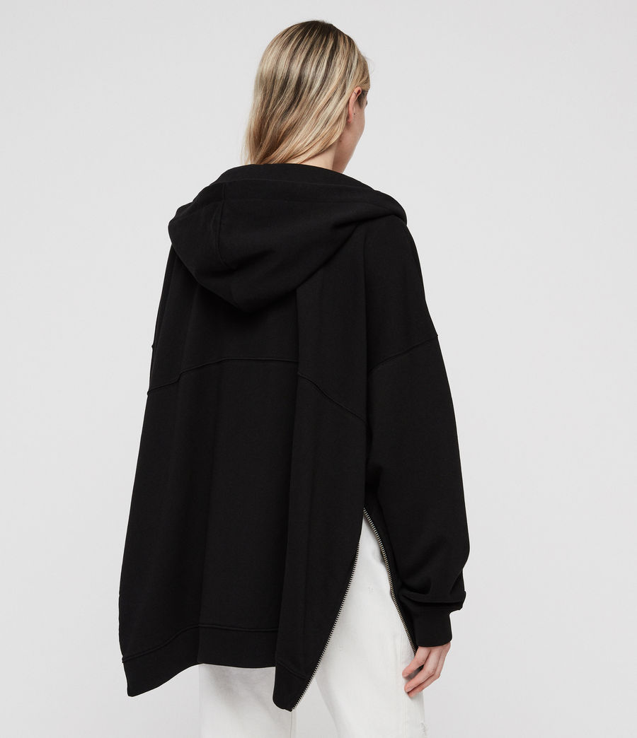 Womens Bella Long Hoodie (black) - Image 5