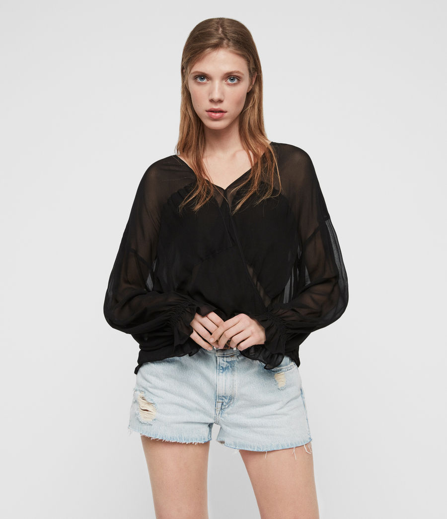Women's Penny Sheer Top (black) - Image 1