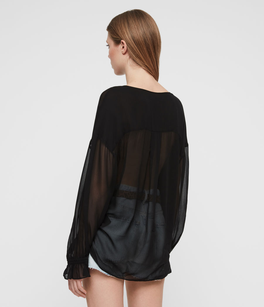 Women's Penny Sheer Top (black) - Image 4