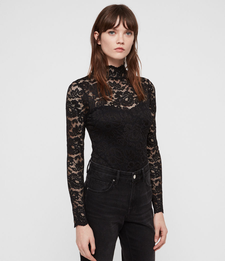 Women's Ellen Lace Bodysuit (black) - Image 3