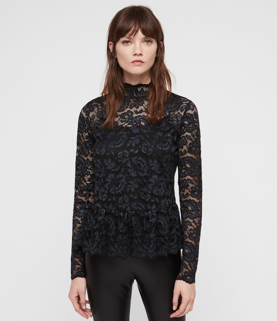 Women's Ellen Lace Top (dark_blue) - Image 1