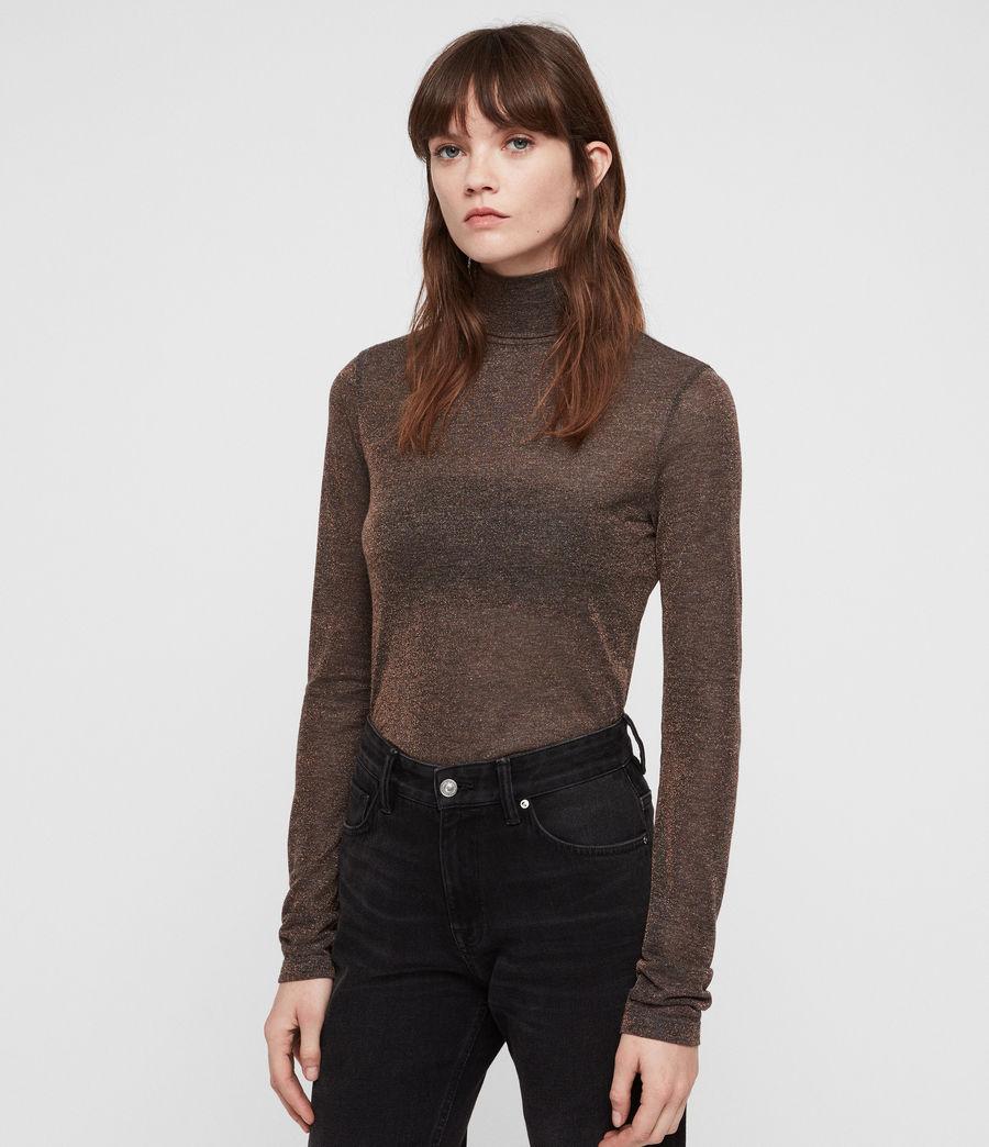 Mujer Esme Shimmer Roll Neck Top (black) - Image 1