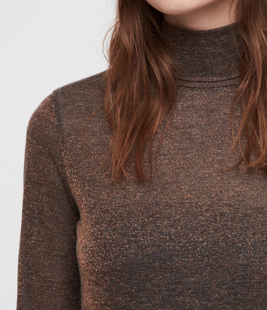 Mujer Esme Shimmer Roll Neck Top (black) - Image 2