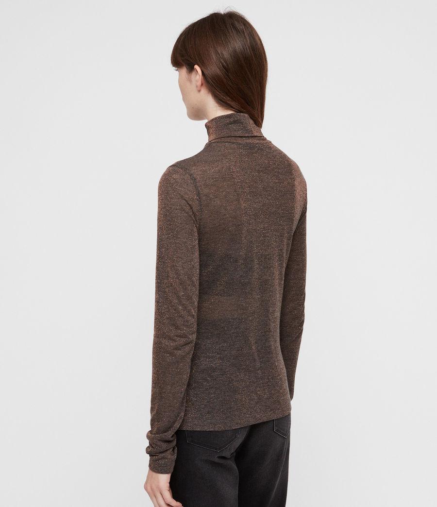 Mujer Esme Shimmer Roll Neck Top (black) - Image 6