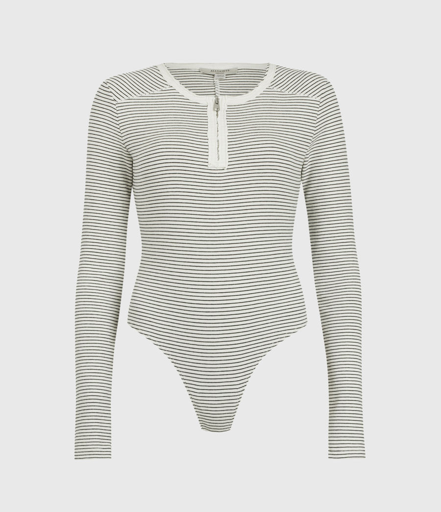 Women's Alicia Long Sleeve Stripe Bodysuit (chalk_black) - Image 1
