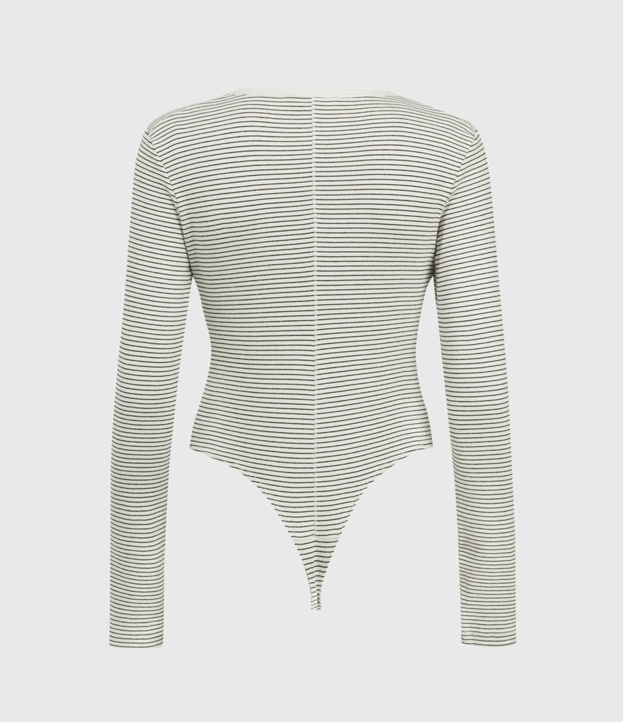 Women's Alicia Long Sleeve Stripe Bodysuit (chalk_black) - Image 2