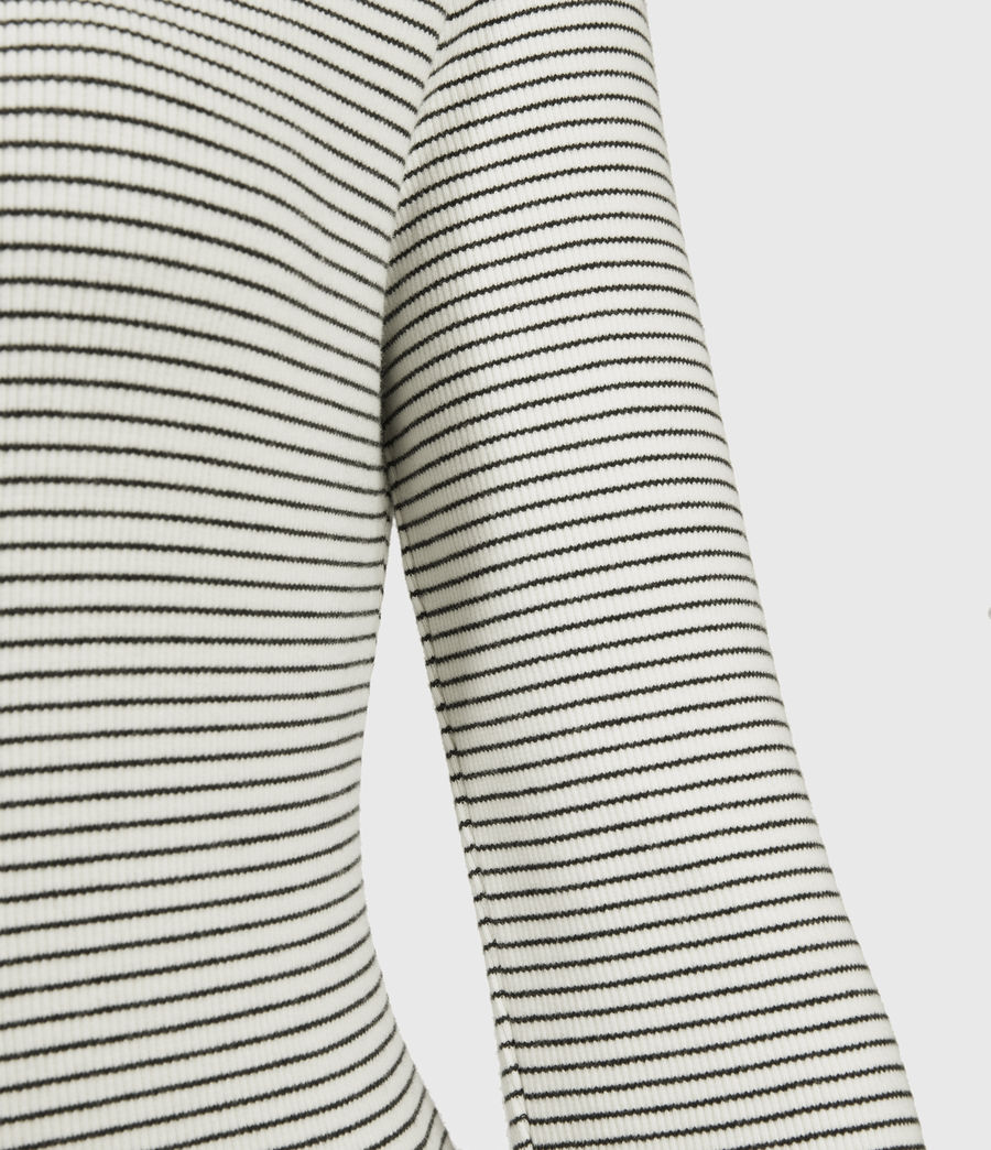 Women's Alicia Long Sleeve Stripe Bodysuit (chalk_black) - Image 3