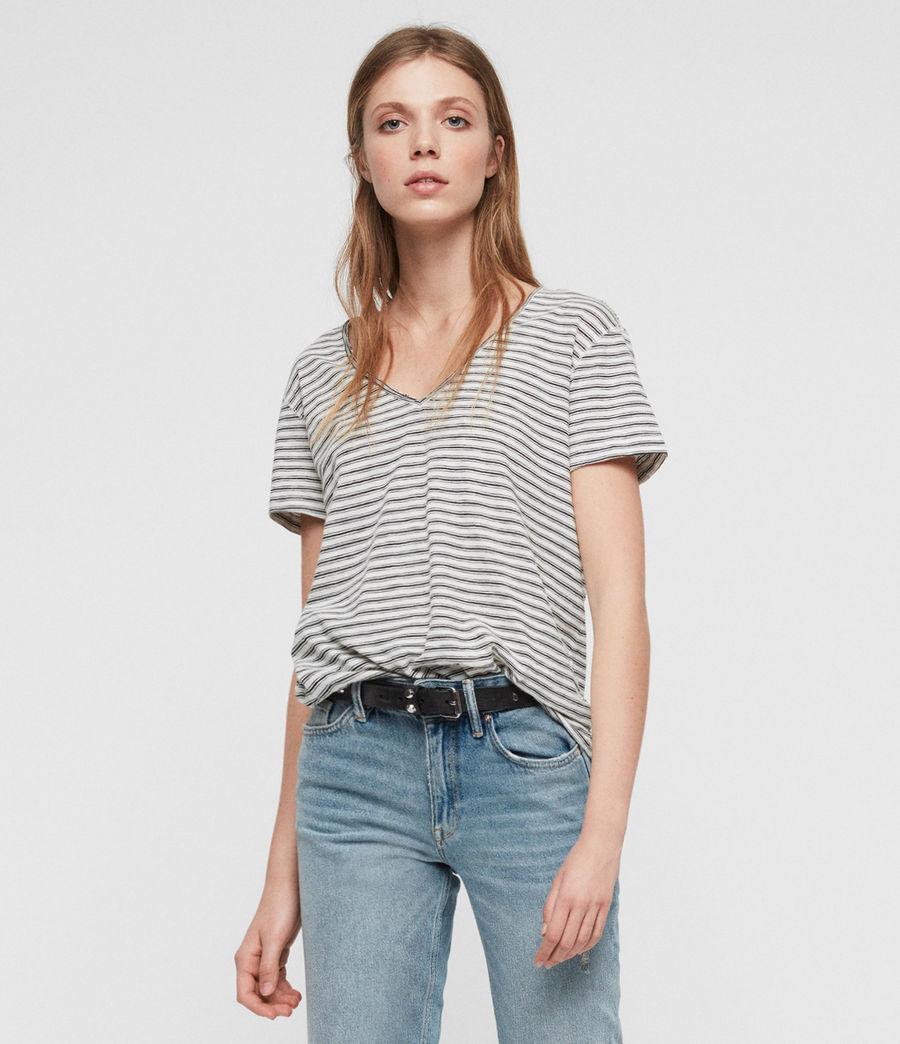 Womens Emelyn Stripe T-Shirt (ecru_black) - Image 1