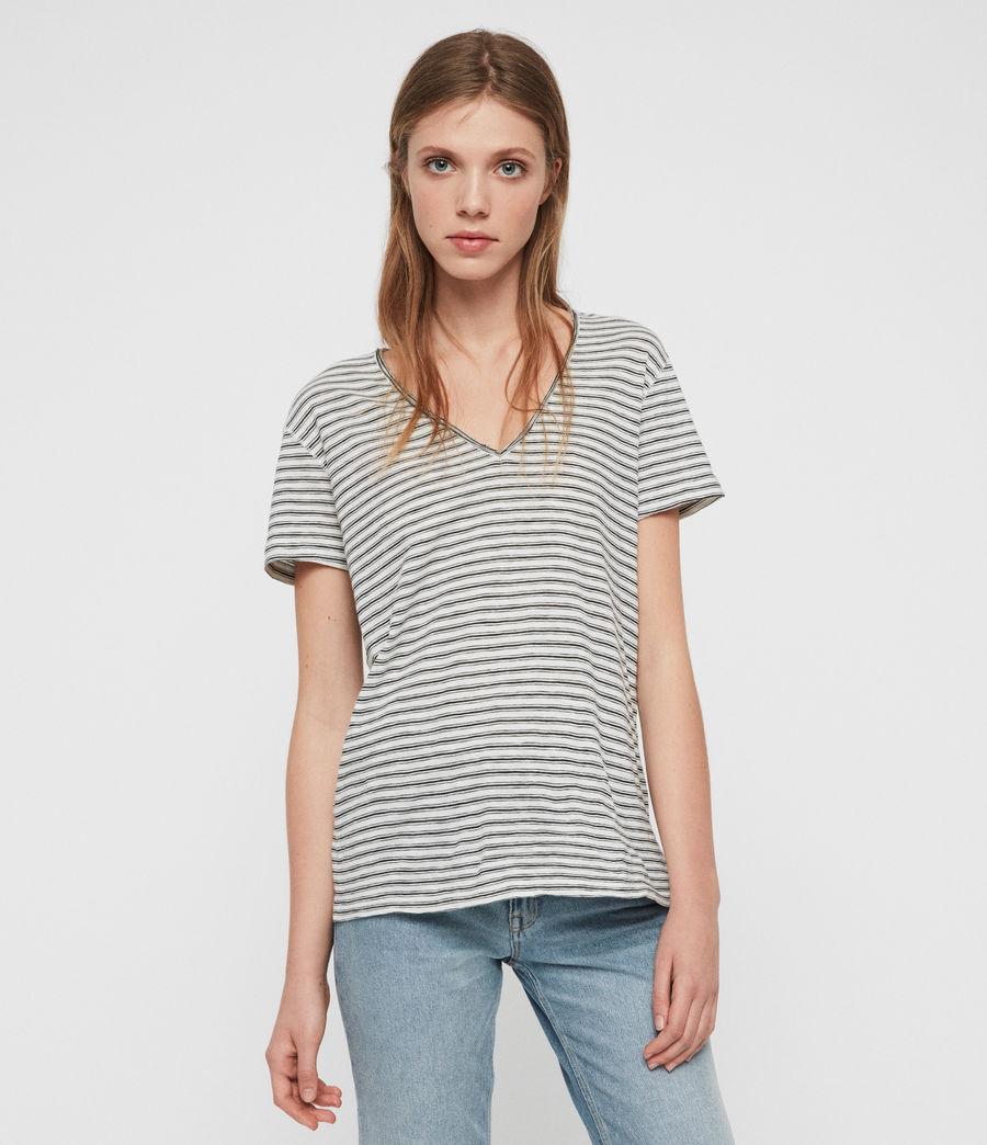 Womens Emelyn Stripe T-Shirt (ecru_black) - Image 2